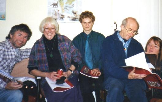 Book One group in Swansea, 2004 L to R: Derek Greenbury, Josie Akhurst, Ben Lockwood, Geoff Akhurst, a friend
